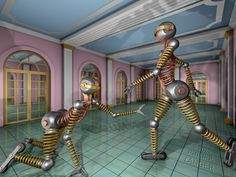 Pair of feminine, metallic robots in a palace hall. 2020, giclée print. Watermarked preview.  #robots #bots #android #feminine #palace #hall #sciencefiction #tingirl #femalerobot #metalrobot #wideshot #wallart #rollerskates #rollerskating #inlineskates #rollerblades #balljoints #fantasy #mechanicalsprings #goldendoors #metalman #fembot #buttbot #assbot #booty #buttocks #sportyrobot #sportybot #palacehall #futuristicscene
