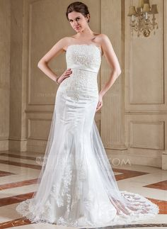 Wedding Dresses - $216.99 - Trumpet/Mermaid Strapless Court Train Satin Tulle Wedding Dress With Lace Beading Sequins (002000642) http://jjshouse.com/Trumpet-Mermaid-Strapless-Court-Train-Satin-Tulle-Wedding-Dress-With-Lace-Beading-Sequins-002000642-g642?ves=vnlx6&ver=ln6dy
