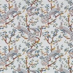 Vintage Plumes Jade Wallpaper - Add some elegance to your walls with DwellStudio's Vintage Plumes jade wallpaper.