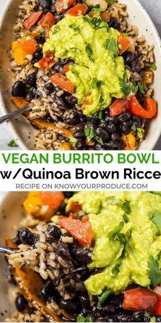 Healthy Recipes, Mexican Food Recipes, Whole Food Recipes, Vegetarian Recipes, Vegan Quinoa Recipes, Recipes For Vegetarians, Vegan Brown Rice Recipes, Brown Rice And Quinoa Recipe, Healthy Black Bean Recipes