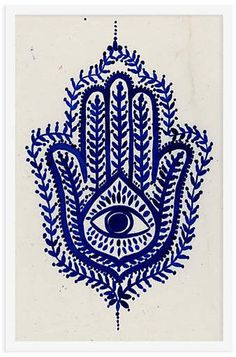 """A hamsa, the subject of this painting, is a popular motif in Middle Eastern and Jewish cultures that protects against the """"evil eye"""" or, more generally, harmful energy. Bring a positive aura to. Hamsa Drawing, Hamsa Painting, Hamsa Art, Eye Painting, Evil Eye Art, Arte Judaica, Hand Of Fatima, Art Reproductions, Fine Art Paper"""