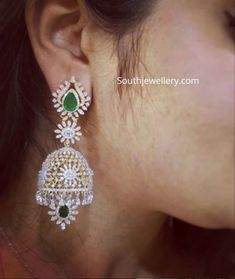 Jewellery Designs - Latest Indian Jewellery Designs 2019 ~ 22 Carat Gold Jewellery one gram gold Diamond Earrings Indian, Gold Bridal Earrings, Bridal Jewelry, Diamond Jhumkas, Diamond Jewellery, Emerald Earrings, Diamond Pendant, Jewelry Design Earrings, Gold Earrings Designs