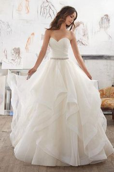 994dd18f2b0fe Buy Illusion A Line Sweetheart Strapless Wedding Dresses,Ruffles Beading  Belt Cheap Wedding Gown,