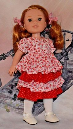 Handmade 4-tiered dress made for the Wellie Wisher Doll. 100% cotton fabrics; one in white with red hearts and the other red with tiny white flowers. Handmade in my smoke free sewing studio by Diana Sexton. | eBay!