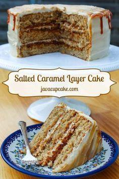 Salted Caramel Layer Cake, hyvää, sopii tarjottavaksi. Suolan ja sokerien määrää voi hiukan pienentää. Voi kokeilla myös koristella suolapähkinän muruilla..