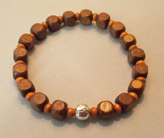 Men's Brown Cube-shaped Wood Cross Stretch Bracelet by SoFineDesigns on Etsy