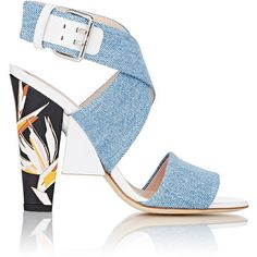 Fendi Women's Colorblocked Double-Band Sandals ($450) ❤ liked on Polyvore featuring shoes, sandals, heels, colorless, heeled sandals, block heel sandals, flats sandals, flat shoes and buckle sandals