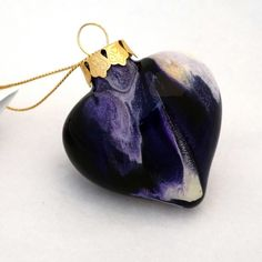 Purple Heart Ornament Hand Painted on the Inside by creationsbyjdb, $15.00