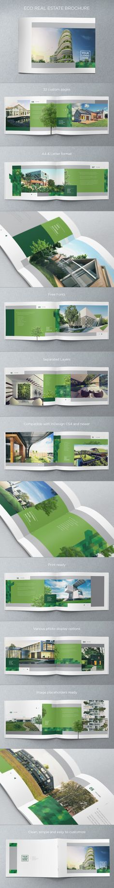 Eco Real Estate Brochure. Download here: http://graphicriver.net/item/eco-real-estate-brochure/4718641?ref=abradesign #design #brochure