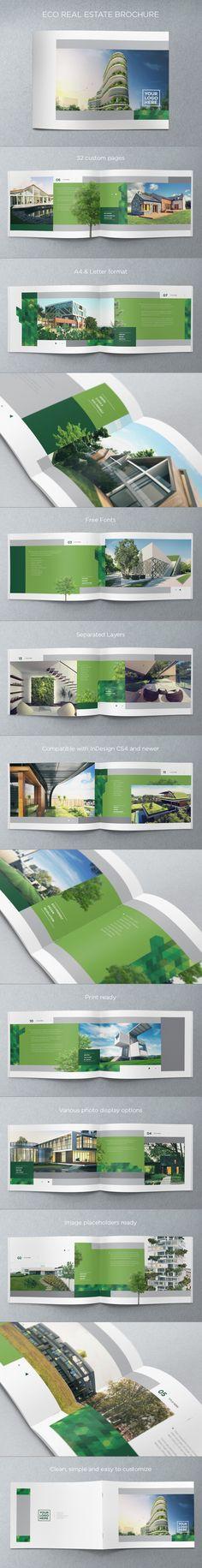 Eco Real Estate Brochure. Download here: http://graphicriver.net/item/eco-real-estate-brochure/4718641?ref=abradesign #design #brochure