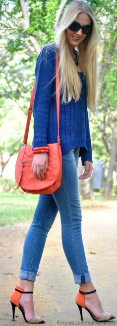 Blue and Orange Street Style