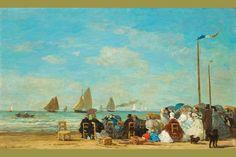Beach Scene at Trouville - 1863 I, by Eugène Boudin