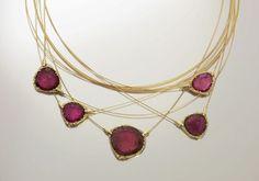 Tourmaline slice necklace in with diamonds by Audrius Krulis. Tourmaline Jewelry, Gemstone Jewelry, Beaded Jewelry, Jewelry Gifts, Jewelery, Fine Jewelry, Beautiful Necklaces, Birthstones, Bangles