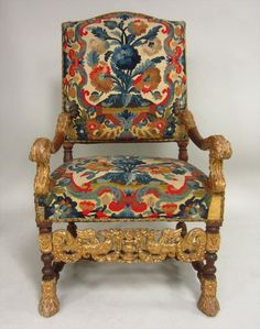 Set of 4 Louis XIV Walnut and Gilt Fauteuils, Circa 1700 with later restorations.
