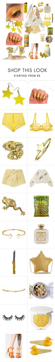 """""""Lellow"""" by discochampion ❤ liked on Polyvore featuring Fleur of England, Huit, Roberto Cavalli, Bling Jewelry, Scotch & Soda, Nali, In Your Dreams, Shoe Republic LA, Lime Crime and Clips"""
