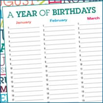 Yearly Birthdays Printable