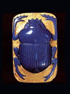 ♔ Ptolemaic Scarab - Glass and gold ~ 332-30 BC