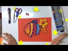 """[Tutorial] How to draw """"Cute Fish"""" for kids This is a simple art lesson for kids. They can learn how to draw the Cute Fish. It's very easy to make it. The kids can use color papers and crayons so they can make nice pictures."""