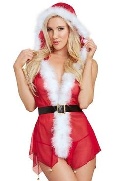Christmas lingerie set  Jingle Bell Santa Babydoll by Dreamgirl. Stretch  mesh Santa style open front hooded babydoll with white fluffy marabou trim c1229dfef