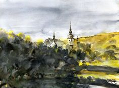 Stary Sącz. Watercolor. Author: Witold Kubicha