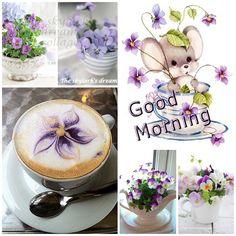 """Good Morning"" purple flowers mood/collage"