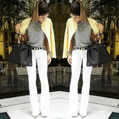 Mais um look muso pra você roubar agora mesmo! #thassianavea #looks #streetstyle #flarejeans #moda #fashion #instafashion #jeansbranco #style #stylishlooks #streetchic