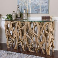 Found it at Clockway.com - Teak Wood Console - LUT7896
