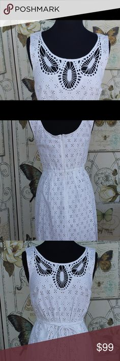 Plenty by Tracy reese white eyelet dress size 8 Beautifully detailed sundress certain to be a prized addition to your wardrobe. Plenty by tracy reese Dresses Midi