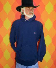 80s vintage sweatshirt hoodie hoody CHAMPION reverse weave warm up hood navy blue Medium Large. $32.00, via Etsy.