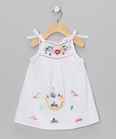 Take a look at this Little Cotton Dress White & Multicolor Lolita Dress - Infant, Toddler & Girls on zulily today! Sewing Kids Clothes, Sewing For Kids, Little Girl Dresses, Girls Dresses, Baby Girl Patterns, Pinafore Dress, Cute Outfits For Kids, Lolita Dress, Cotton Dresses