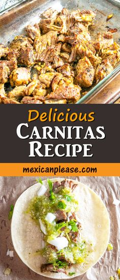Giving the pork shoulder a quick brine is the key to this delicious Carnitas recipe. I served this batch with a sharp Salsa Verde -- so good!! mexicanplease.com