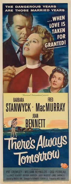 There's Always Tomorrow (1956) starring Fred MacMurray, Barbara Stanwyck. Watched August 2013, TCM.