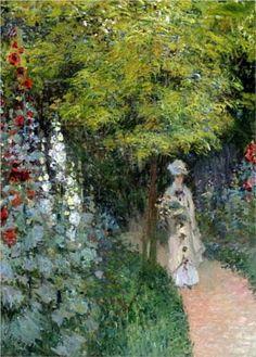 The Garden, Hollyhocks ...Claude Monet