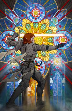Stained-Glass Knight by Johannes Voss Fantasy Character Design, Character Concept, Character Art, Concept Art, High Fantasy, Medieval Fantasy, Dnd Characters, Fantasy Characters, Inspiration Art