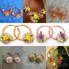 Fancy gota flower earrings Gota Patti Jewellery, Thread Jewellery, Fabric Jewelry, Diy Flowers, Flower Decorations, Make Your Own Jewelry, Jewelry Making, Flower Jewellery For Mehndi, Handmade Jewelry