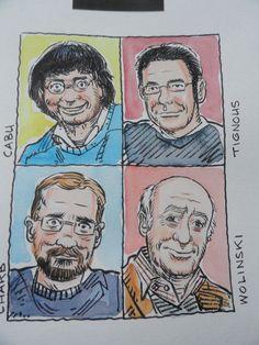 Strzelecki, Caryl - vier originele ingewassen tekeningen - striptekenaars Charlie Hebdo