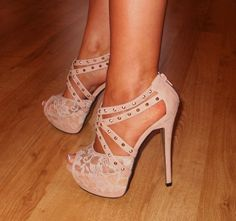 DOLCIS Lace PeepToes with Studded Suede Straps