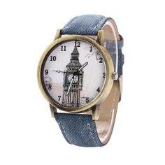 Reloj con tela vaquera, súper original. Lo quieres???AHORA EN REBAJAS ENVIO GRATIS http://www.misstendencias.com/29-relojes #reloj #telavaquera #original #relojesoriginales #bigben #londres #tendencias #complementos #relojes #rebajas #chic #cool #style #outfittheday #blogger #regalos #barato