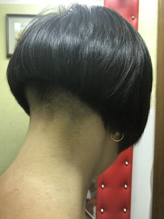 Image may contain: one or more people and closeup Shaved Bob, Shaved Hair Cuts, Shaved Nape, Short Hair Undercut, Undercut Hairstyles, Short Hair Cuts, Short Hair Styles, Stacked Bob Hairstyles, Great Hairstyles