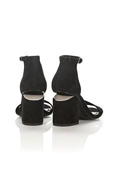 ALEXANDER WANG Heels ABBY SUEDE SANDAL IN BLACK WITH RHODIUM
