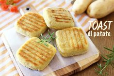 TOAST DI PATATE IN PADELLA – CON CUORE FILANTE Raw Food Recipes, Italian Recipes, Cooking Recipes, Good Food, Yummy Food, Savoury Dishes, Gelato, Healthy Cooking, Street Food