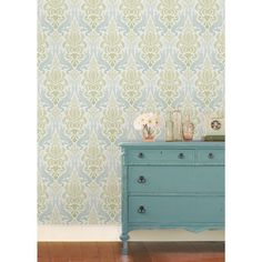NuWallpaper 30.75 sq. ft. Blue and Green Nouveau Damask Peel and Stick Wallpaper - NU1656 - The Home Depot