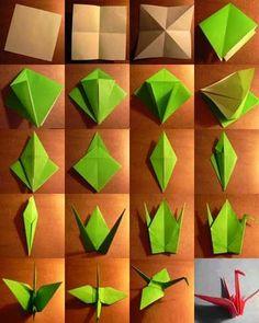 #Origami de Tsuru. Diz a lenda que ele vive mil anos e tem o poder de conceder desejos. Se uma pessoa dobrar mil Tsurus e fizer seu desejo a cada um deles, ele será atendido. #DIY