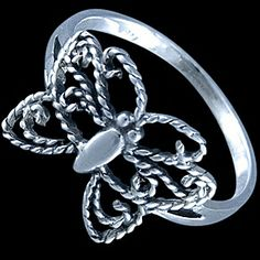 Silver ring, butterfly Silver ring, Ag 925/1000 - sterling silver. An artfully-crafted butterfly silhouette.