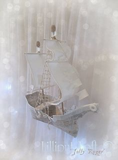 de48e0851584 Pirate Jolly Roger Sailing Ship in Papier Maché von lilliputloft Pirate  Boats