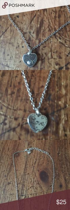 """Brighton Dainty Heart/Love Necklace Very dainty and pretty. A tiny heart with a mother heart mounted on it. The flip side says """"Love"""". Brighton Jewelry Necklaces"""