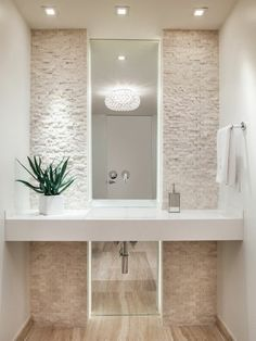 Bathroom Plants Shower Mirror 18 New Ideas Small Bathroom Sinks, Shower Remodel, Beige Bathroom, Luxury Powder Room, Floating Bathroom Vanities, Small Bathroom Decor, Bathroom Decor, Powder Room Ideas Elegant, Bathroom Plants Shower