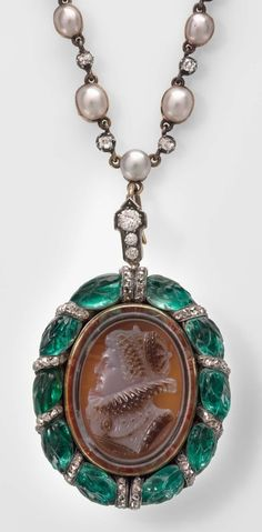 """A cameo necklace designed by Mrs. Charlotte Newman, """"Mrs. N."""""""