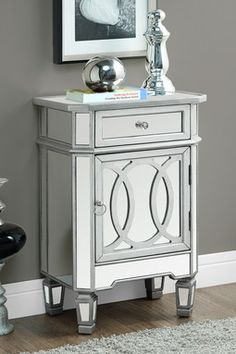 Brushed Silver Mirrored Accent Table