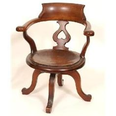 A Late Century Mahogany Office Chair, with pierced back splat - Charterhouse Desk Chair, 19th Century, Victorian, Table, Furniture, Home Decor, Decoration Home, Room Decor, Tables